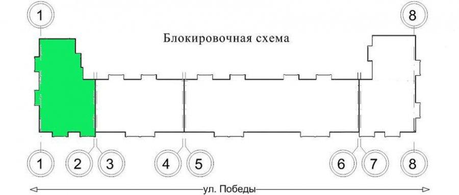 Секция в осях 1 - 2 (5 подъезд дома)
