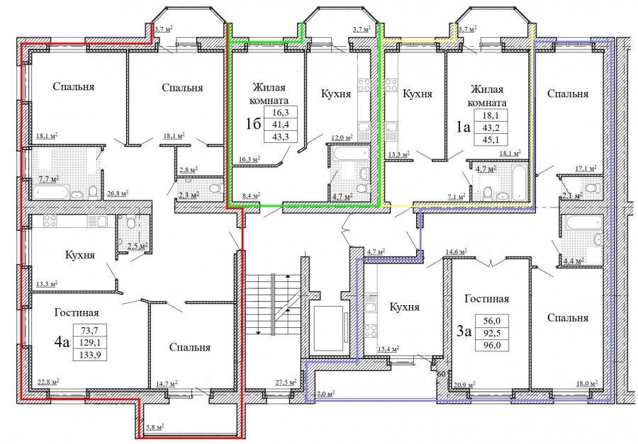 План 2, 3 этажа дома 57Б по ул. Московская